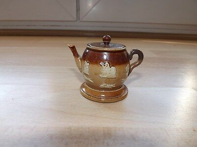 Very Rare Doulton Stoneware Miniature Teapot Shaped Inkwell With Lid c1890