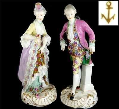 PAIR LARGE ANTIQUE 19TH CENTURY FRENCH EDME SAMSON PORCELAIN FIGURES 43cm 17""