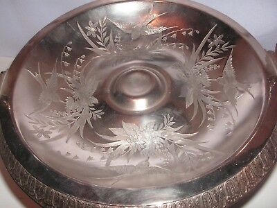 Old Aesthetic Silverplate Handled Bride's Basket,  Birds, Flowers, Wilcox