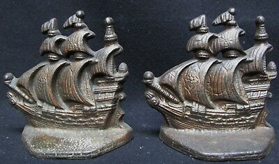 Antique Cast Iron Spanish Galleon Armada Two Flags Ship Bookends