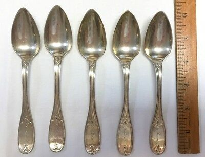 """5 Antique 1800's Beggs & Smith Coin Silver Teaspoons Spoons 6"""", 148g Ford"""