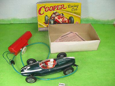 vintage empire made toys plastic cooper racing car boxed battery powered 2183