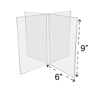 "Multi Panel Ad Frame 6""W x 9""H Sign Holder 8 Sided Table Sign Holder Qty 4"