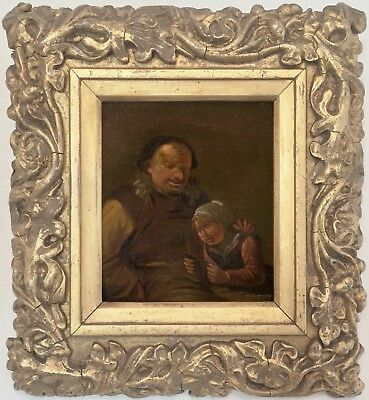 Father and Child Antique Old Master Oil Painting 17th Century Dutch School