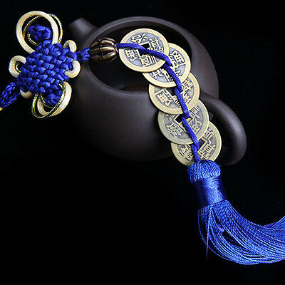 Wealth Success 5 Copper China Coin Knot Blue Rope Feng Shui Lucky Car Decor P4K7