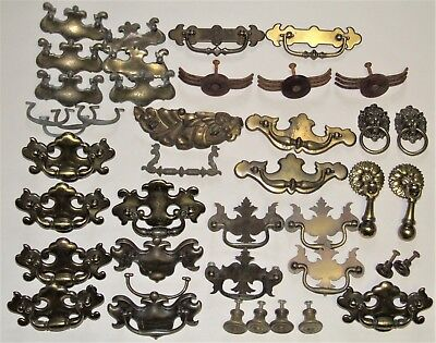 Large Lot of 36 Antique Vintage Brass Drawer Pulls Knobs - Furniture Hardware