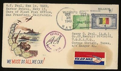 1943 WWII PATRIOTIC CACHET Censored  ~  HAWAII SAILOR's Mail With Letter