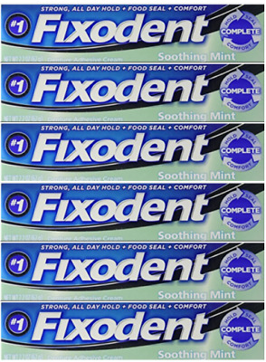 6- Fixodent Complete Denture Adhesive Cream Soothing Mint Strong Hold 2.2 oz ea