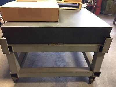 """Black Granite Surface Plate Solid 4' x 6' x 8"""", On heavy duty wheeled stand."""