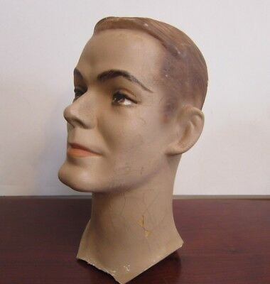 Vintage Plaster Mannequin Head Bust Male Molded hair Blond life-size Art Deco