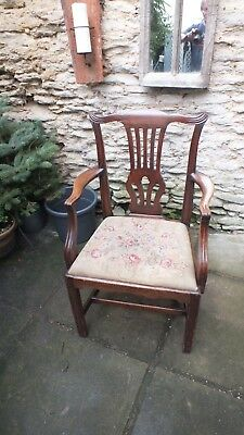 Georgian mahogany arm chair with tapestry drop in seat