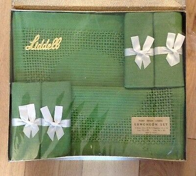 Vintage Boxed Unused Liddell Pure Irish Linen Luncheon Set Place Mats & Napkins