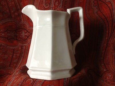 Antique White Ironstone 8 1/2 Inch Gothic Pitcher with Plain Bracket Handle
