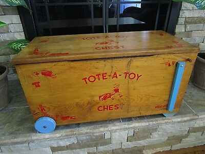 Vintage Wood Toy Box TOTE-A-TOY CHEST on Wheels with Handles - RARE - L@@K!