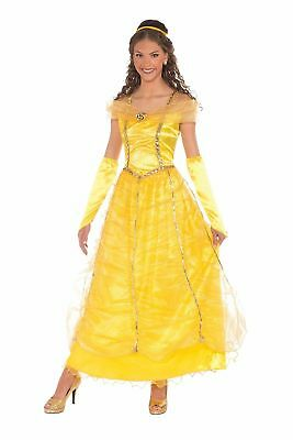 37815d00499d38 Golden Princess Yellow Dress Belle Beauty Adult Womens Fairy Tale Costume