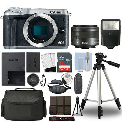 Canon EOS M6 Mirrorless Digital Camera with 15-45mm STM Lens Silver+ 32GB Bundle