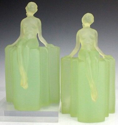 Vintage Pair Of Art Deco Frosted Green Lucite Acrylic Nude Female Bookends JND
