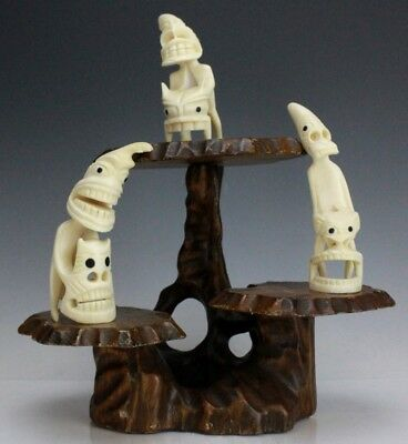 Vintage Lot Of 3 Southwest Pacific Island Hand Carved Bone Tribal Sculpture SLG