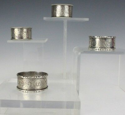 Set 4 English Sterling Silver Floral Etched Round Table Napkin Ring Holders FTL