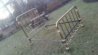 Antique Brass Bed Full Size converted to modern queen POLISHED