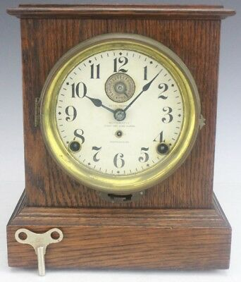 Antique Seth Thomas Automatic Eight 8 Day Alarm Double Key Wind Mantle Clock FTL