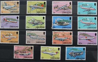 1982 Gibraltar SG460-74 Aeroplanes Planes Thematic Set to £5 Fine Used
