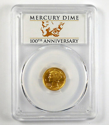 2016-W Mercury Dime 1/10th Oz .9999 Gold Centennial - PCGS SP70 - First Strike