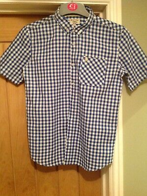 boys penguin blue and white checked short sleeved boys shirt age 14/15 years