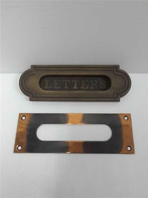 Vintage Brass Letter Box Plate Door Mail Slot with Back Plate