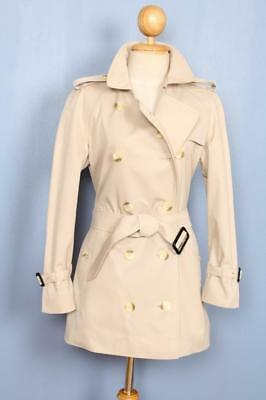 BEAUTIFUL Womens BURBERRY Double Breasted TRENCH Coat Mac SHORT Beige 10/12