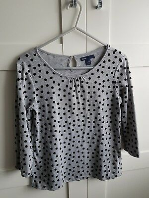 BNWOT Gap Kids girls grey LS top with black velvet spots Age 8-9 years