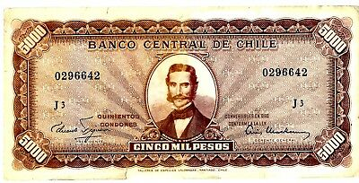 "Chile ... P-130 ... 5 Escudos on 5000 Pesos ... ND(1960-61)... (~)*F*.Serie ""J3"""