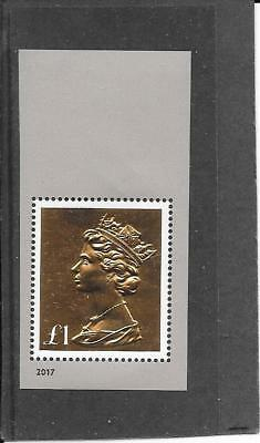 "STAMPS: G.B. 2017  "" £1 EMBOSSED GOLD FOIL "" DEFINITIVE(from m/sheet) (U/MINT)"