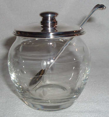 Etched Crystal & Sterling Lid & Spoon CONDEMENT Mustard JAR Currier Roby 1900-43