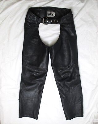 California Creations Leathers Mens Black Buckle Front Motorcycle Chap Pants Sz M