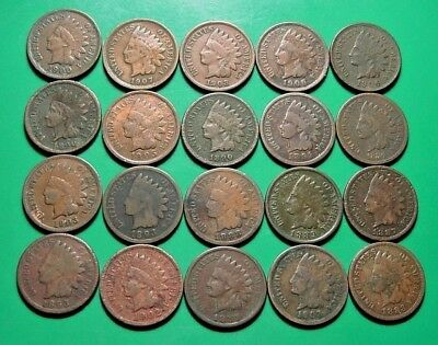 NICE MIX OF 20 INDIAN HEAD CENTS - SEE PICTURES!  a