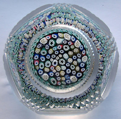 Large  faceted  Whitefriars Millefiori Paperweight  / Briefbeschwerer