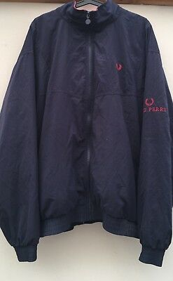 VINTAGE MENS Fred Perry Navy Blue Jacket. XL