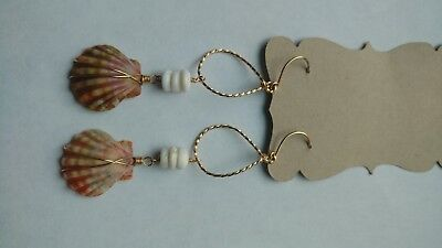 Hawaii sunrise shell earrings 14k gold plated silver rare colors!