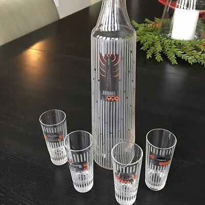 Vintage Mid Century Liquor Set: Rare Decanter With 4 Glasses From Eastern Europe