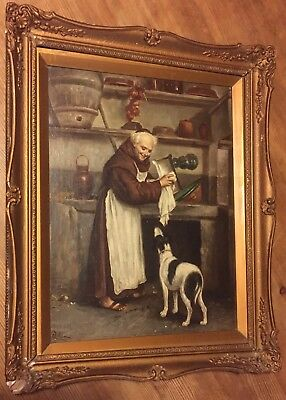 Original Oil On Board Painting Of Monk With Dog Indistinctly Signed After A Sani