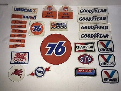 Vintage Patches 76 Unocal Goodyear Valvoline Pure Mobile Gas Oil Stp Cart +
