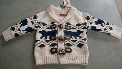Sprout Baby Boys Toggle Cardigan  Sz 0 New With Tags