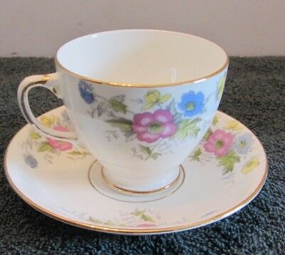 Sampson Smith Old Royal Bone China Tea Cup & Saucer Pink Blue Yellow Flowers