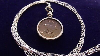 """1950 English Wren Bird Farthing Pendant on a 26"""" 925 Sterling Silver Chain"""