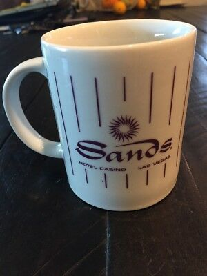 Sands Hotel Casino Las Vegas White Coffee Mug Tea Cup Purple Pinstripes Logo
