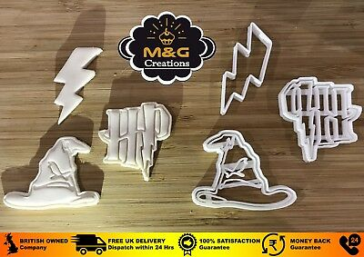 set 3 PCS HARRY POTTER sorting hat SMALL Plastic Cookie Cutter Topper Fondant uk