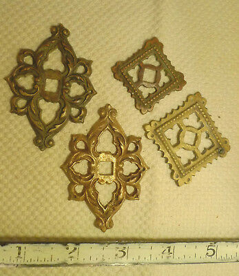 Mixed Lot 4 Antique Brass Escutcheons Furniture Hardware Knob Back Plate Flange