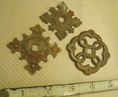 Mixed Lot 3 Antique Brass Escutcheons Furniture Hardware Knob Back Plate Flange