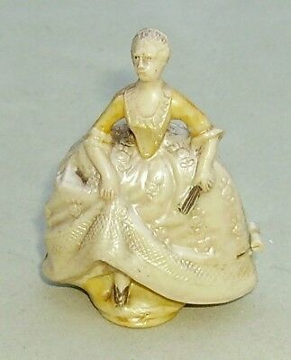 vintage 1920's novelty celluloid sewing tape measure Crinoline Lady